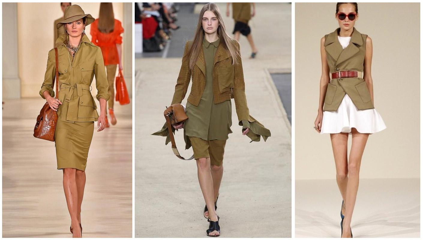модный показ одежды цвета хаки