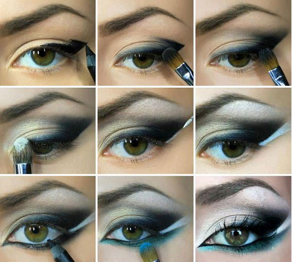 нанесение косметики на глаза