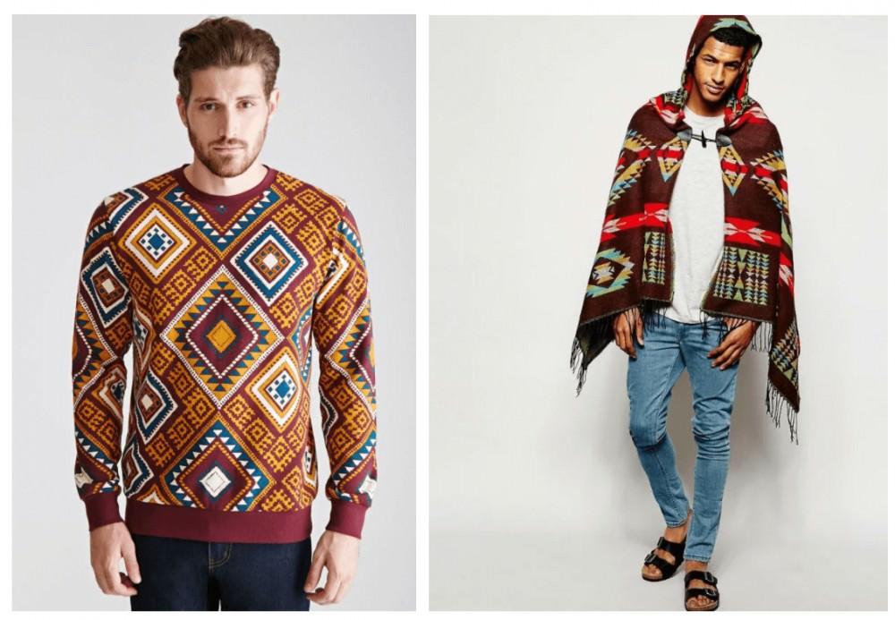 свитер и пончо в этно стиле